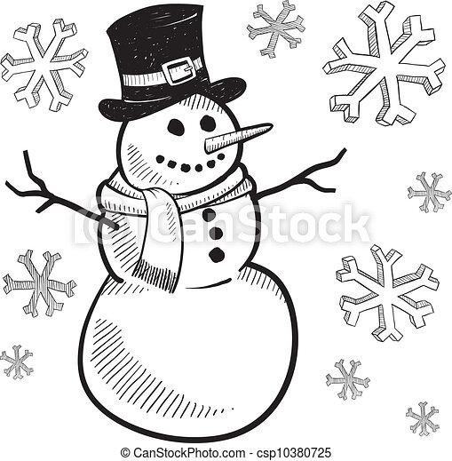 Holiday snowman sketch - csp10380725