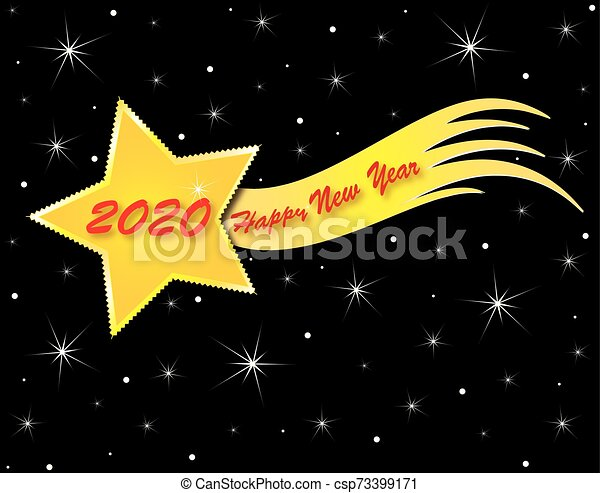Christmas Comet Where 2020 Holiday theme christmas and new year. Comet with title 2020 happy