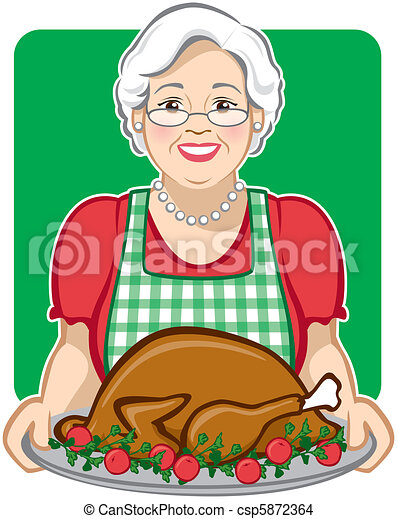 vector illustration of a grandmother cooking serving a eps vector rh canstockphoto com grandfather clipart free line drawing grandmother clipart free