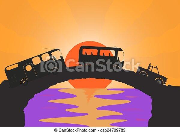 Holiday Vehicles Stone bridge - csp24709783