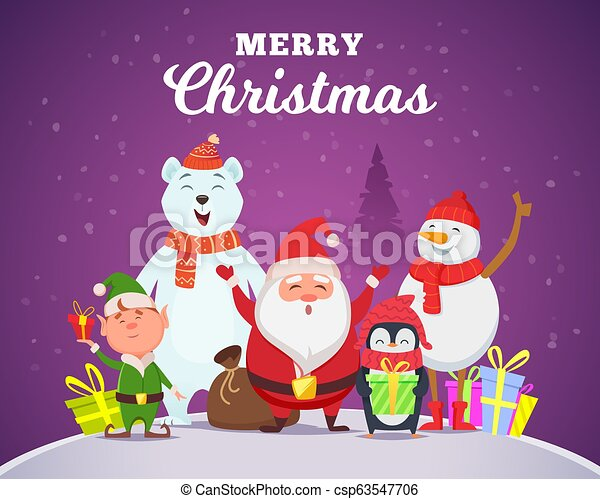 Holiday winter background. Christmas characters santa penguin white arctic  bear character snow wildlife animals in cartoon style vector