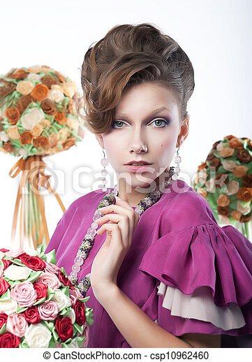 Holidays - beauty girl with festive flowers art portrait - csp10962460