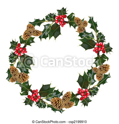 Holly and Pine Cone Wreath - csp2199910