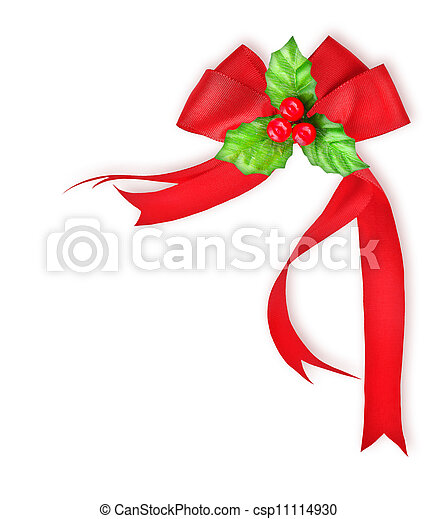 Holly berry and red bow ribbon, Christmas decoration border - csp11114930