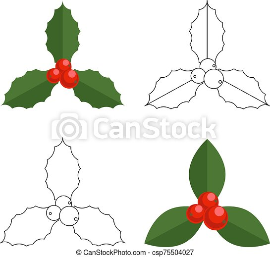 Holly Berry Christmas Icon Set Element For Design Cartoon Simple Mistletoe Decorative Colour And Graphic Ornament Vector Canstock Christmas tree is an essential attribute of christmas and new year. https www canstockphoto com holly berry christmas icon set element 75504027 html