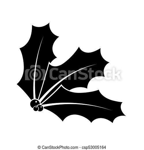 Christmas Holly Silhouette.Holly Berry Silhouette For Christmas Isolated On White Background