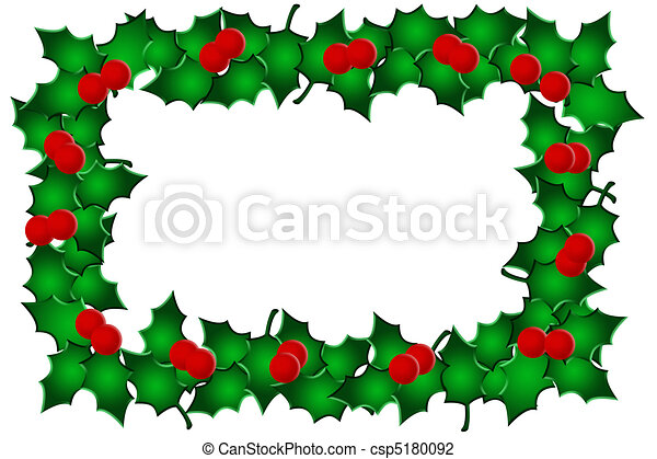 holly and berries on a white background holly border clip art rh canstockphoto com holly leaves border clip art clipart christmas holly border