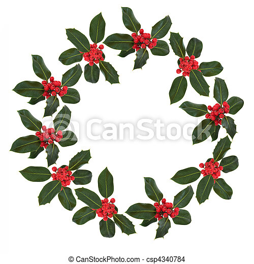 Holly Leaf and Berry Wreath - csp4340784