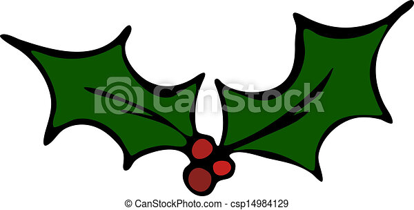Holly Leaf and Red Berries Vector  - csp14984129