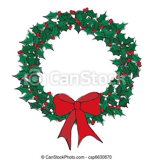 Holly wreath - csp6630870