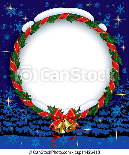 Holly wreath with bells - csp14426418