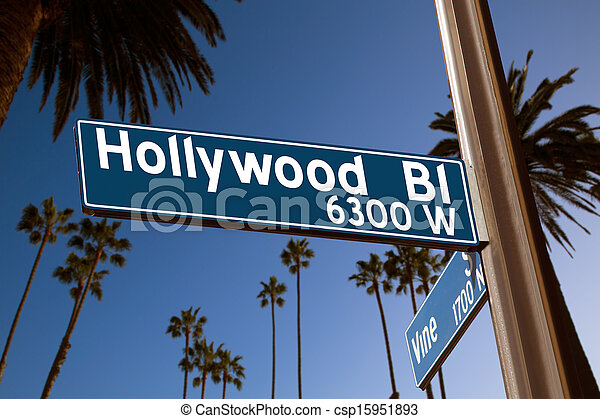 Hollywood Boulevard with sign illustration on palm trees - csp15951893