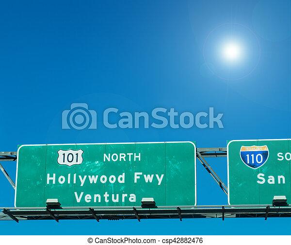 Hollywood freeway in Los Angeles - csp42882476