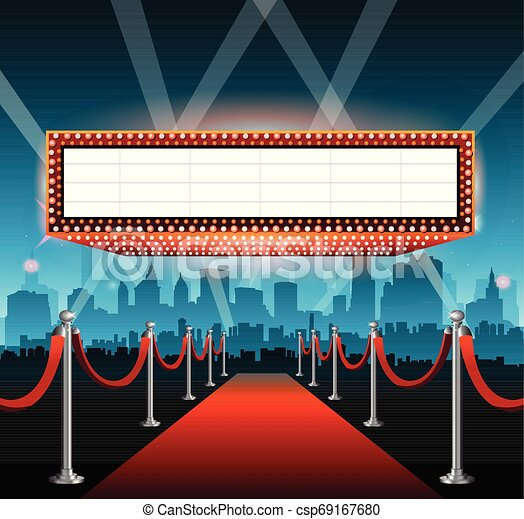 Hollywood movie red carpet background and city - csp69167680