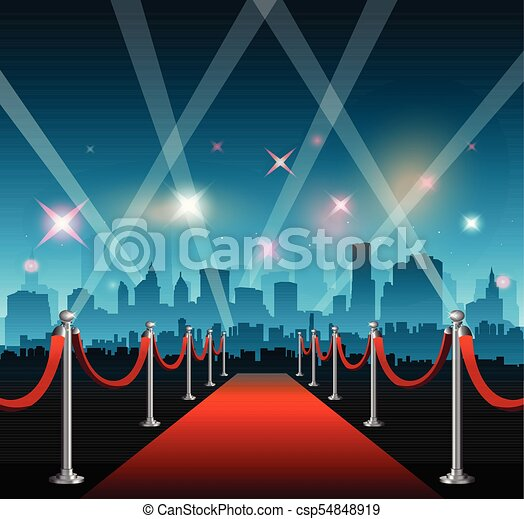 Hollywood movie red carpet background and city - csp54848919