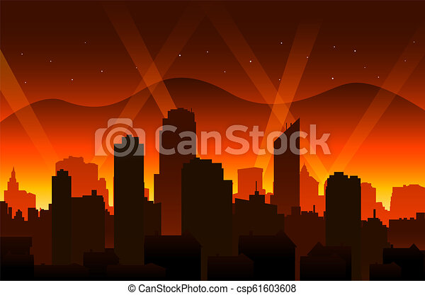 Hollywood movie red carpet background and city - csp61603608