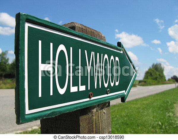 HOLLYWOOD road sign - csp13018590
