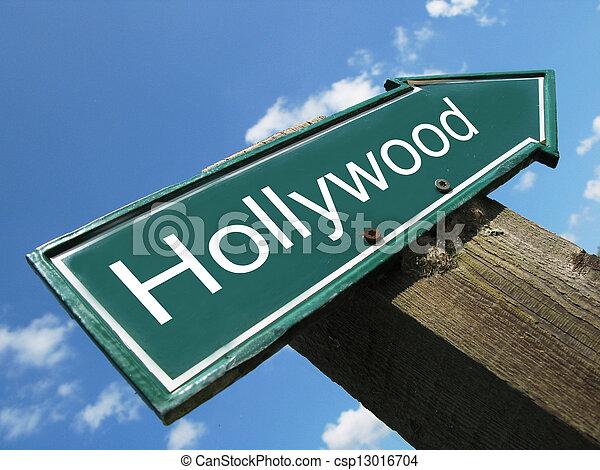 HOLLYWOOD road sign - csp13016704