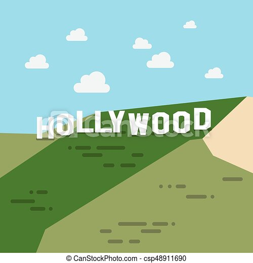 Hollywood Sign In Flat Style Vector Illustration Eps Vectors