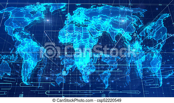 Digital Map Of The World.Holographic News World Map An Optical Art 3d Illustration Of A