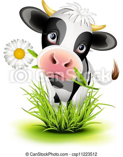 Holstein Herbe Vache Holstein Mignon Herbe Vert Vache