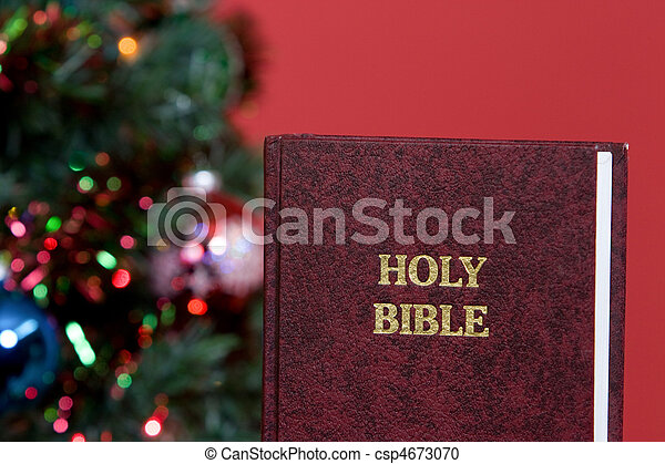holy bible and christmas tree csp4673070
