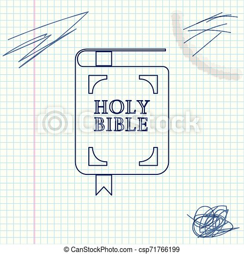 Holy bible book line sketch icon isolated on white background. Vector Illustration - csp71766199