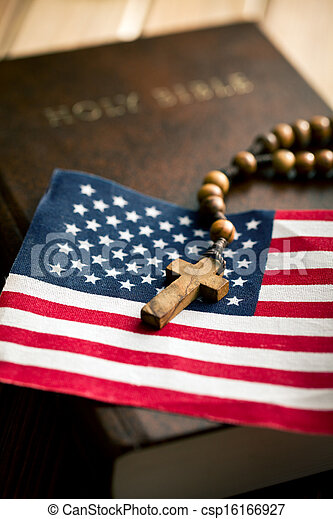 Holy Bible With American Flag And Crucifix Holy Bible