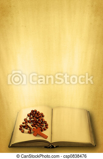 holy book and rosary - csp0838476