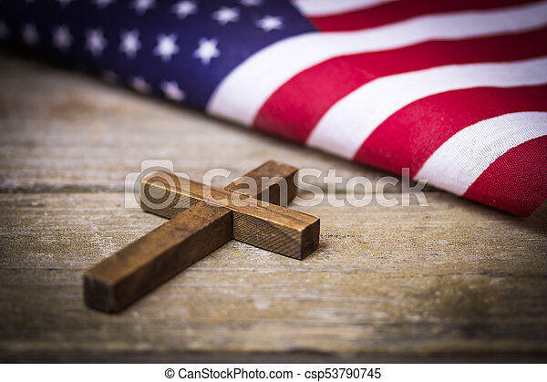 holy christian cross and american flag background a holy wooden