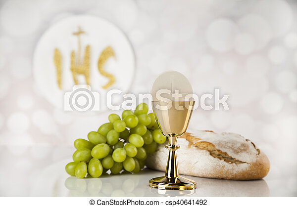 Holy communion a golden chalice, composition isolated on white - csp40641492
