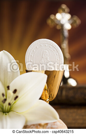 Holy Communion Bread, Wine for christianity religion - csp40643215