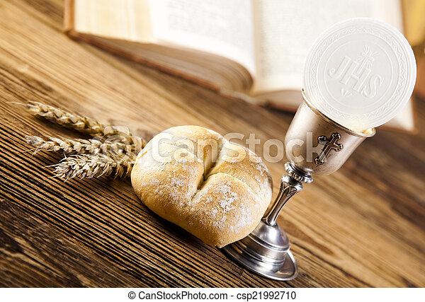 Holy Communion Bread, Wine - csp21992710