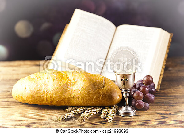 Holy Communion Bread, Wine - csp21993093