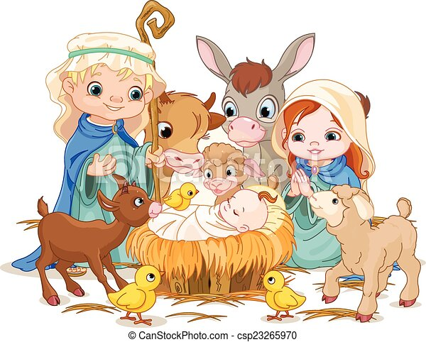 Holy Family at Christmas night - csp23265970