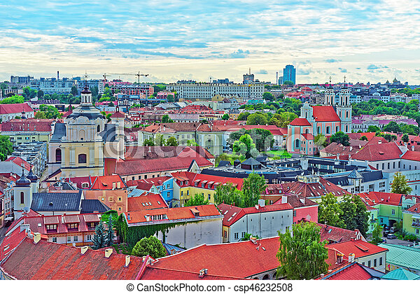 Holy Spirit Church and rooftops at old town in Vilnius, Lithuania