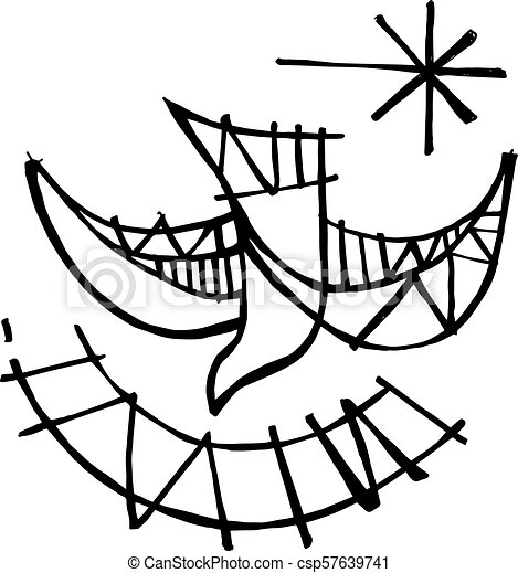 Holy Spirit Dove Symbol Hand Drawn Vector Illustration Or Drawing