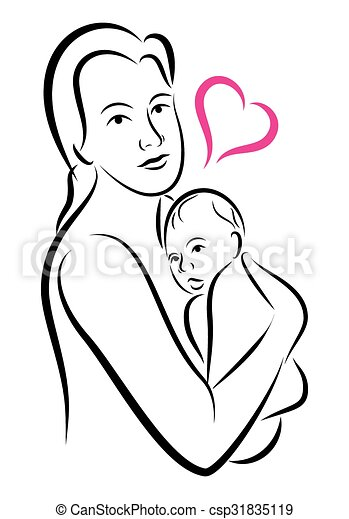 Stylized Holy Union Of Mother And Child Love Family