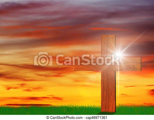 Holy Wooden Christian Cross - csp46971361