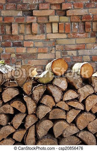 Holz, Stapel, Stein, Steinwand   Csp20856476