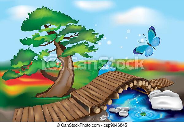 holzbrücke, zen, landschaftsbild - csp9046845