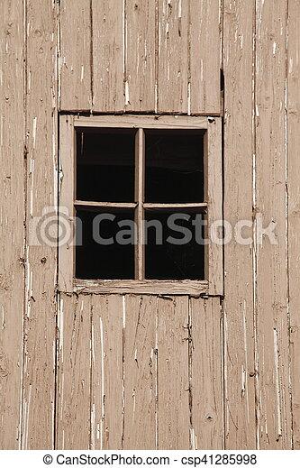Holzfenster An Einer Holzernen Hauswand