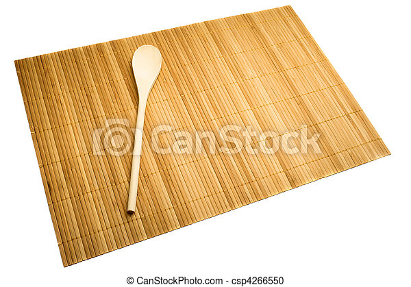 holzlöffel, matte, bambus - csp4266550