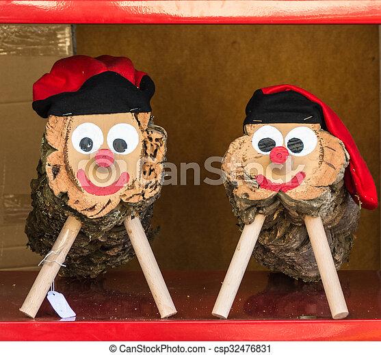 Holzstamm De Zeichen Gerufen Tio Nadal Weihnachten Catalonia Tragen Smiley Holzstamm Gesicht Barretina Caga