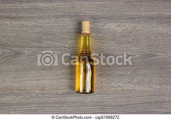 holztisch, oel, flasche