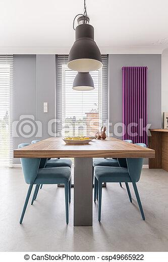 Holztisch Türkis Stühle Stühle Türkis Industrie Zimmer