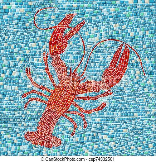 homard, rouges, mosaïque - csp74332501