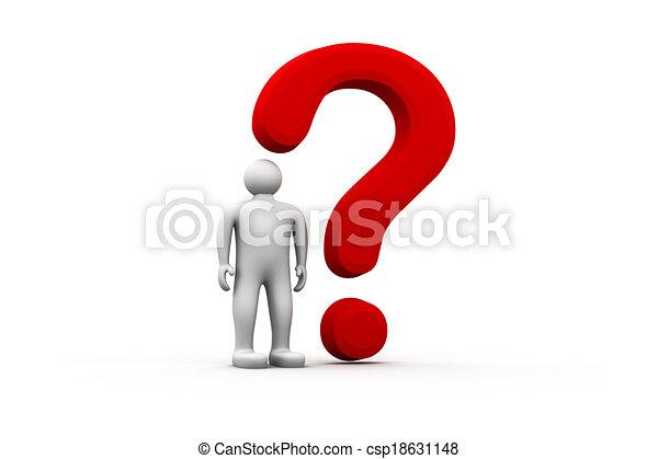 Hombre 3D con signo de interrogación rojo - csp18631148