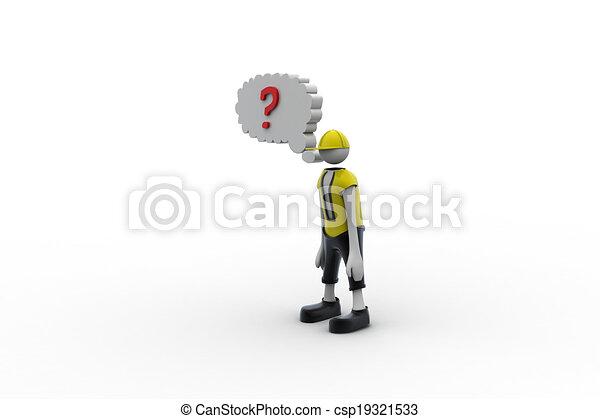 Hombre 3D con signo de interrogación rojo - csp19321533
