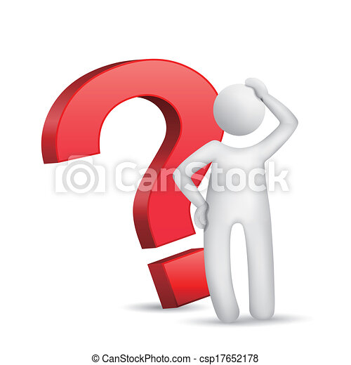 Hombre 3D con signo de interrogación rojo - csp17652178